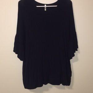 dark blue bell sleeved shirt